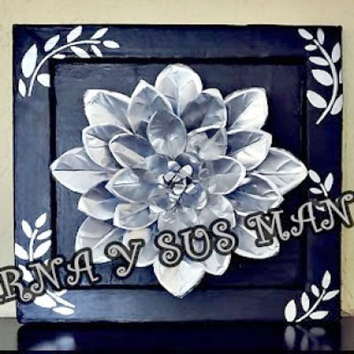 DIY Flower wall art with aluminum cans - recycling craft