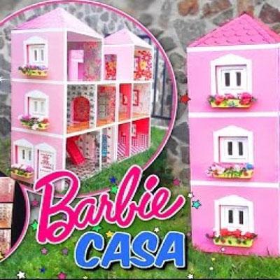 DIY cardboard box Barbie doll house - recycling craft