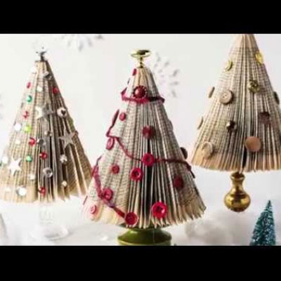 DIY Folded book Christmas tree - Christmas decoration from an old book