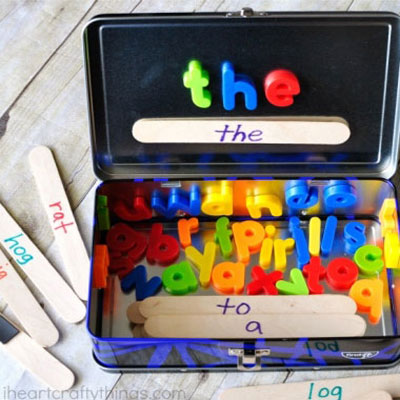 DIY Word building activity travel kit - learning toy for kids