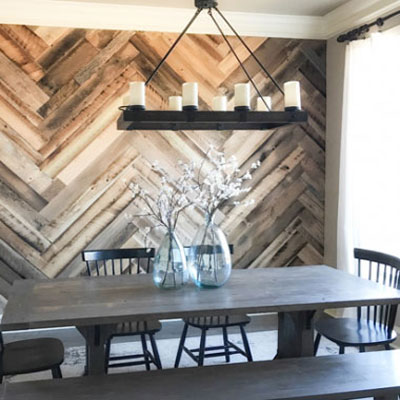 DIY Barn wood herringbone wall treatment