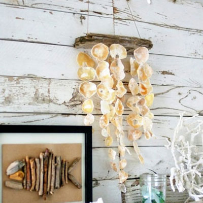DIY rustic seashell mobile (or wind chime)
