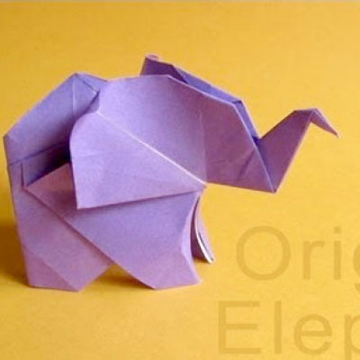 Cute little origami elephant - easy paper folding model