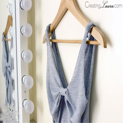 DIY No-sew bow-back summer tank top from a T-shirt