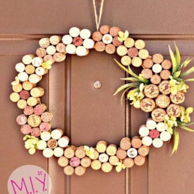 DIY Easy wine cork spring - summer wreath