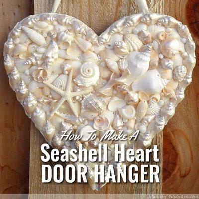 DIY Seashell heart door hanger - summer decor
