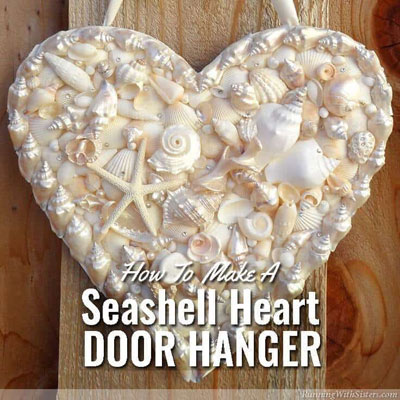 DIY Seashell heart door hanger - summer decor