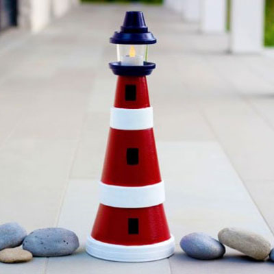 How to make a clay pot lighthouse - garden decoration