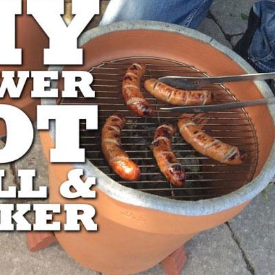 DIY Clay flower pot garden grill & smoker