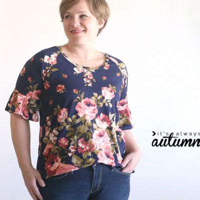 Pretty ruffle sleeve raglan tee (free sewing pattern)