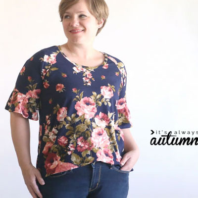 Pretty ruffle sleeve raglan tee (free sewing pattern)