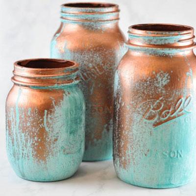 DIY Metallic copper mason jars with blue patina