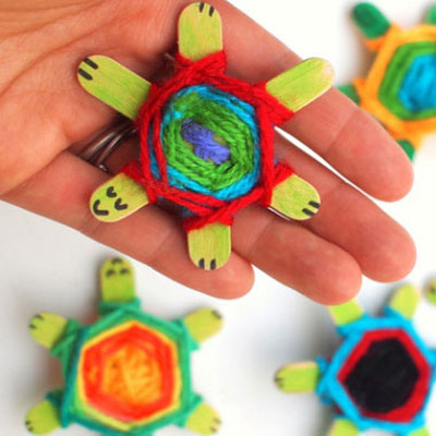 DIY Cute baby turtles using God's Eye weaving pattern