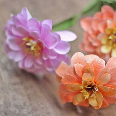DIY Zinnia flower from printer paper ( free template )