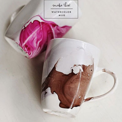 DIY watercolour mugs with nail polish