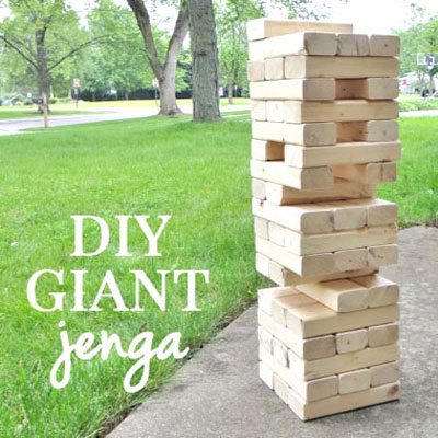 DIY Giant wooden garden Jenga game - fun party game