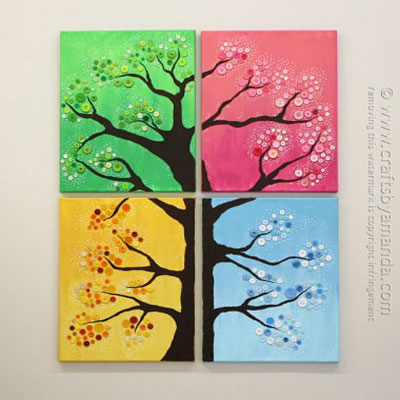 DIY Four season button tree canvas wall art