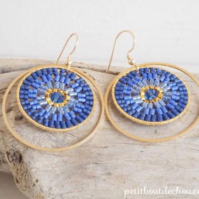 DIY Miyuki ombré double circle earrings - jewelry making