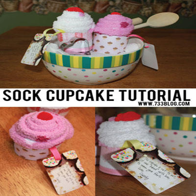 Sock cupcakes - creative gift wrapping