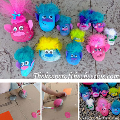 DIY Troll painted rocks - fun craft for kids
