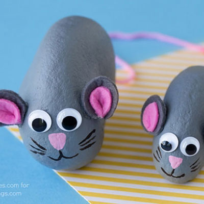 DIY Painted mouse rocks - rock painting for kids