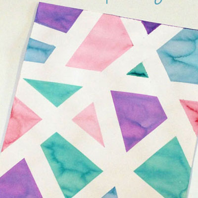 DIY Geometric painting with masking tape (tape resist painting)