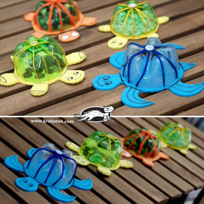 DIY Adorable turtles from plastic bottles - recycling craft for kids