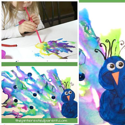 DIY Straw blown peacock painting - kids craft idea