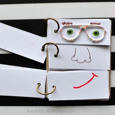 DIY funny face flip book - craft idea for kids
