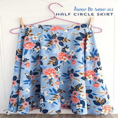 How to sew a half circle skirt - free sewing pattern and tutorial