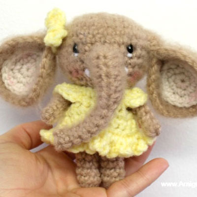 Cute little amigurumi elephant in dress - free amigurumi pattern