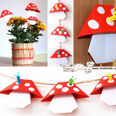 DIY Origami mushroom - easy fall craft for kids with paper folding