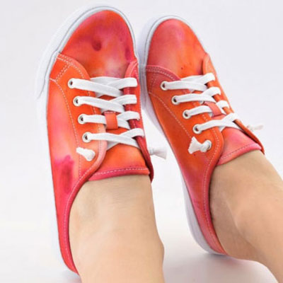 DIY Unique ice dyed fabric sneakers