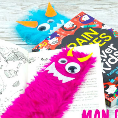 DIY Hairy monster bookmarks - fun craft for kids