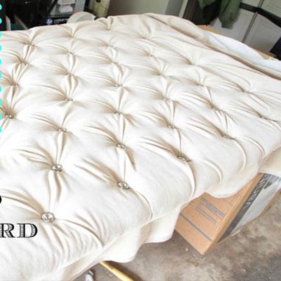 DIY Upholstered tufted headboard tutorial