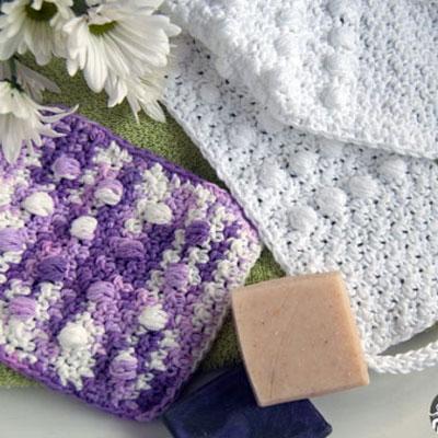 Pampering massage back scrubber & washcloth (free crochet pattern)