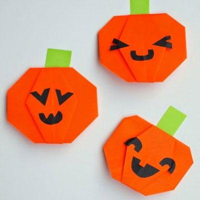 DIY Easy origami pumkins - halloweend craft for kids