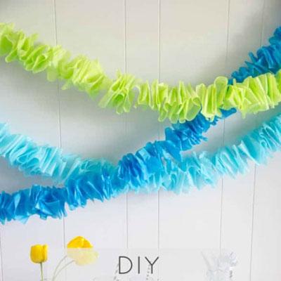 DIY Ruffled tissue paper garland - easy party decor