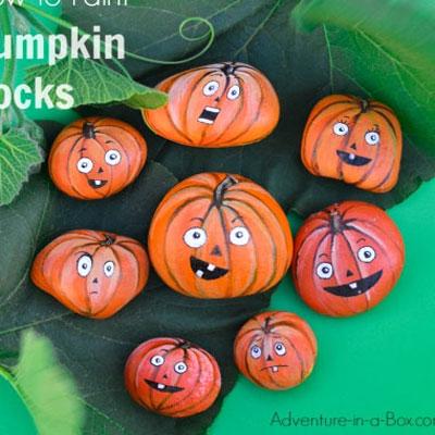 Pumpkin rocks - easy fall rock painting project for kids