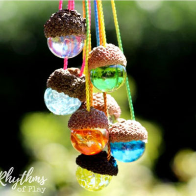 Acorn marble necklaces - nature craft for kids