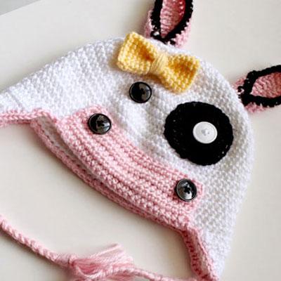 Free adorable crochet cow hat pattern