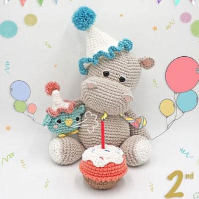 Cute amigurumi hippo & little bird ( free crochet pattern )