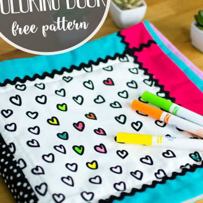 Washable coloring book for kids (free sewing pattern)