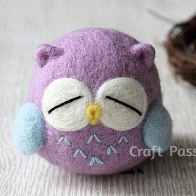 DIY Kawaii needle felted owl