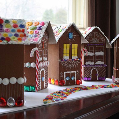 Gingerbread houses from milk cartons