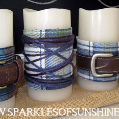 DIY Belted flanel candles for fall