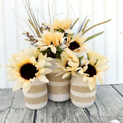 DIY Vintage fall jars with burlap and lace