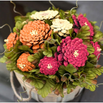 DIY Pinecone mums - fall flower arrangement