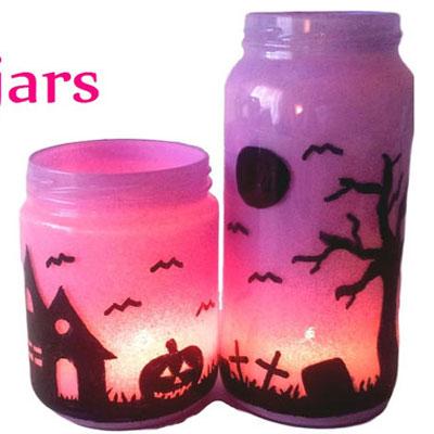 DIY Mason jar lanterns - Halloween decoration