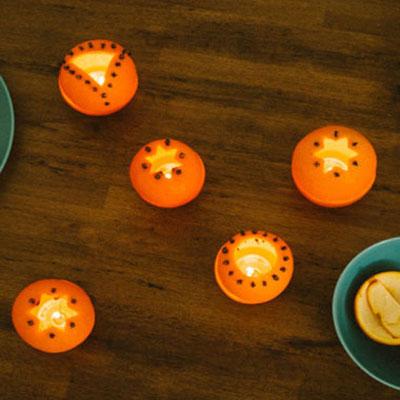 Orange peel Christmas votive - natural winter decor